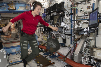Astronaut Anne McClain looks at a laptop inside the US Destiny laboratory module of the International Space Station.