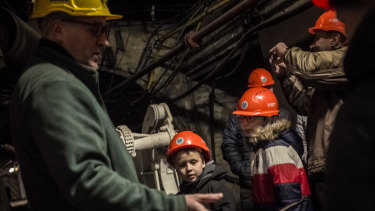 A former miner guides an educational tour to the Guido Deep Coal Mine in Zabrze, in the south-west Silesian region of Poland.