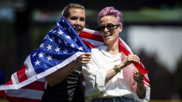 Reign FC and US national women's soccer team players Allie Long (left) and Megan Rapinoe.
