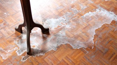 Milky stains on the ballroom's parquetry floor in 2013. Internal refurbishment would still be required if the ballroom were to re-open.