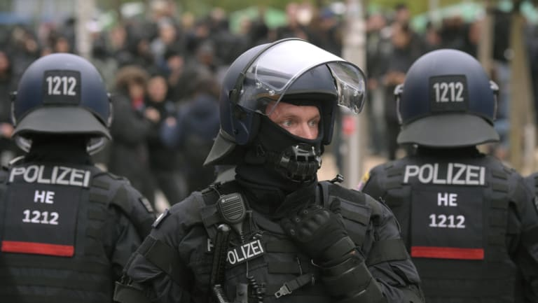 Police during nationalist demonstrations in Chemnitz.