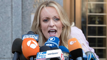 In full flight: Stormy Daniels outside federal court in New York last month.