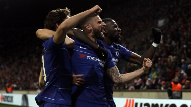 Chelsea's Marcos Alonso (right) celebrates his goal with teammates.