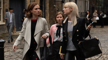 Paquin with co-stars Lydia Wilson, right, as the well-heeled and cynical Eve, and Rebecca Benson, centre, as new girl Melody.