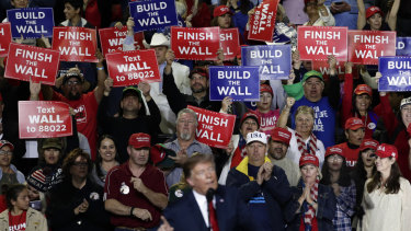An organised fan base cheers as US President Donald Trump speaks in El Paso, Texas, on Tuesday, Australian time.