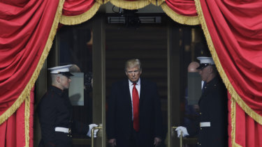 President-elect Donald Trump steps out to the portico to be sworn in as 45th president of the United States on January 20, 2017.