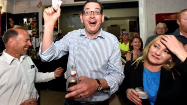 Daniel Andrews in a bar on Cup Day 2014.