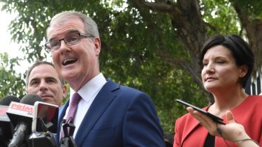 NSW Opposition Leader Michael Daley and member for Strathfield Jodi McKay on the campaign trail.