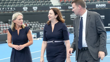 Minister for Tourism Kate Jones, Queensland Premier Annastacia Palaszczuk and Tennis Queensland CEO Mark Handley announce changes to Queensland tennis at Pat Rafter Arena in Brisbane.