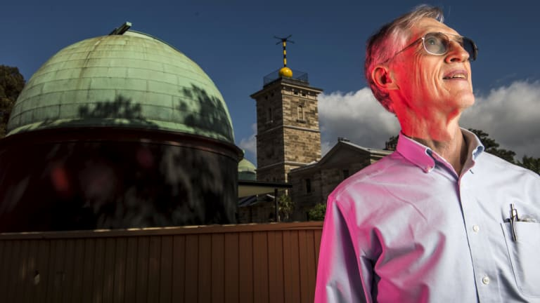 Dr John Mather at Sydney Observatory. He is visiting Australia ahead of the launch of NASA's James Webb Space Telescope.