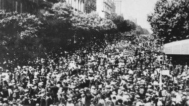 Collins Street, Armistice Day, 1918.