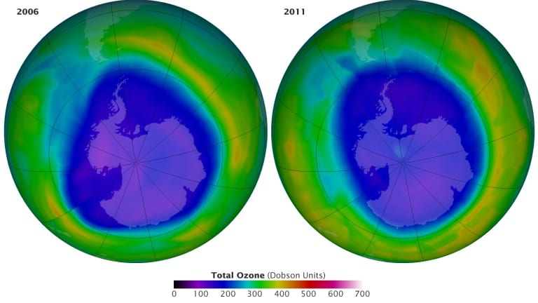 This image, from NASA and centred on Antarctica, shows the damage we have done to the ozone layer. The gradient indicates the amount of ozone at that region. As you can see, a large area of the atmosphere above Antarctica has been depleted of ozone, as shown by the dark-blue area.