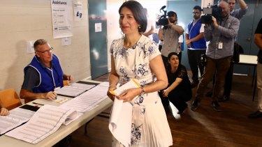 Premier Gladys Berejiklian has cast her vote.