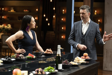 Judges Melissa Leong and Jock Zonfrillo with the ingredient pairings from the immunity challenge in MasterChef episode 14.