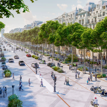 An architectural impression of the soon-to-be revamped Champs-Élysées in central Paris.