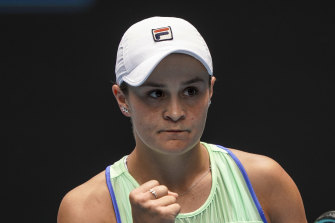 Ash Barty celebrates her victory over Polona Hercog.