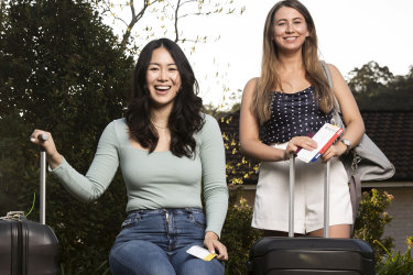 Portrait of Daphne Lin and Tia Dolan who would prefer to travel abroad rather than within Australia. Photographed in St Ives, Sydney on September 11, 2020. Photo: Dominic Lorrimer