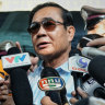 Thailand's Prime Minister Prayut Chan-o-cha addresses the media after voting on Sunday.