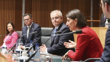 NSW Premier Gladys Berejiklian addresses a national cabinet meeting in December.
