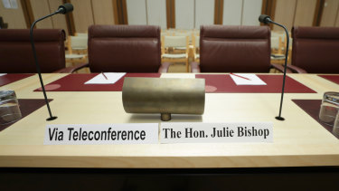 Julie Bishop said she would not breach ministerial standards in witness testimony delivered over telephone.
