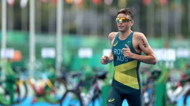 Australian Aaron Royle competes in the men's individual triathlon on day three of the Tokyo 2020 Olympic Games at Odaiba Marine Park.
