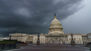 Stormy weather moves toward the US Capitol in Washington.