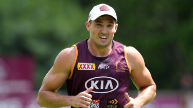 Oates in action during a Broncos training session at the Clive Berghofer Centre in Brisbane on Friday.
