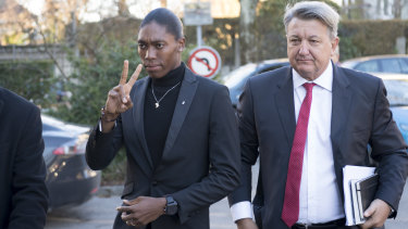 Semenya and her lawyer Gregory Nott, right, arrive for the hearing at the international Court of Arbitration for Sport.