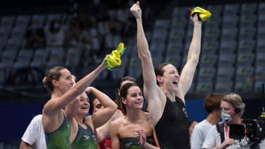 Emma McKeon, Chelsea Hodges, Kaylee McKeown and Cate Campbell after claiming gold in the women's 4x100m medley relay.