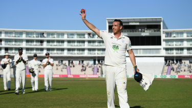 Kyle Abbott received the plaudits as he leaves the field after his 17-wicket match haul.