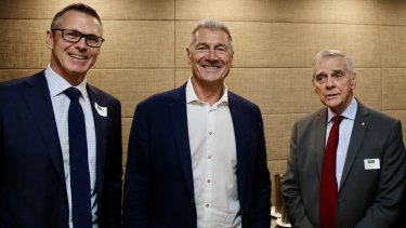 David Mortimer AO, right, with Nick McArdle and Murray Mexted, at the launch of IRAA in Sydney last year.