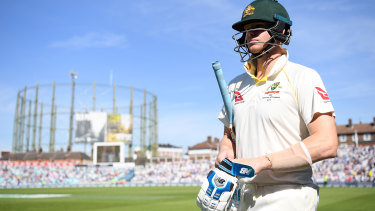Human after all: Smith prepares to bat in the second innings at The Oval, where for once he performed below his lofty standards.
