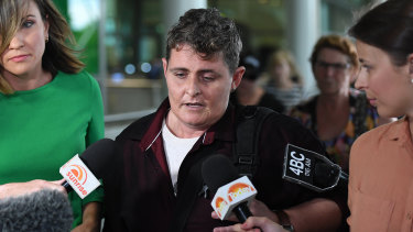 Ms Lawrence barely spoke as she touched down to waiting media at Brisbane Airport on Thursday.