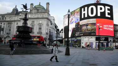 Piccadilly Circus, unusually quiet. Assuming that the worst is averted, prepare for a surge of pent-up investment.