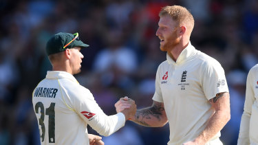 David Warner and Ben Stokes shake hands after the latter's heroics during the third Ashes Test in Leeds.