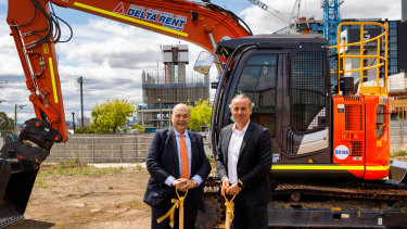 Developer Bensons' Elias Jreissati and Atlas' Guy Hedley break ground at Liberty One tower.