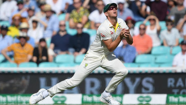 Josh Hazlewood takes the catch of Jack Leach during Day Four of the fifth Ashes Test.