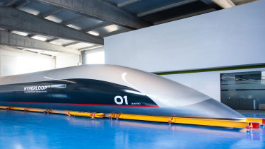 The carriage HyperloopTT hopes to carry passengers in.