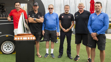 This year's Big Boat Challenge contenders spoke about how bushfires have altered their preparations for the Sydney to Hobart. Left to right: Mark Richards, David Witt, Peter Harburg, Sam Mackay, Tony Mutter and Mark Bradford.