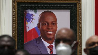 A portrait of late Haitian President Jovenel Moise at his memorial service in Port-au-Prince, Haiti.