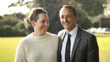 Dave Sharma with his wife Rachel at Darling Point on Monday.