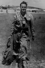 Squadron Leader Len Williamson (Sydney) Co.O. of R.A.A.F. 1st. Bomber Squadron, Rengah air base, Singapore, returns from raid in Malaya. December 5, 1950.