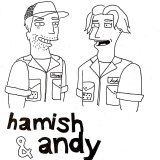 Radio duo Hamish and Andy, drawn by Talia Kuo in the likeness of Simpsons characters.