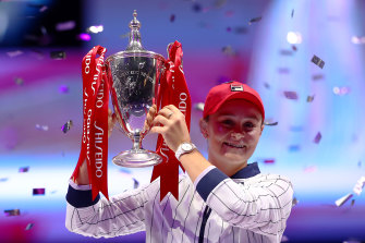 Ashleigh Barty after winning the WTA Finals event in Shenzhen on Sunday.