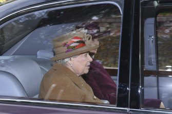 Queen Elizabeth arrives St Mary Magdalene Church in Sandringham on Sunday.