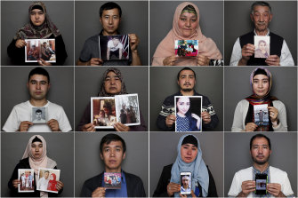 Uighurs in Australia with photos of relatives who are in internment camps, are missing or have died.