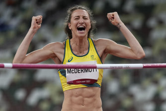 Nicola McDermott clears the bar last night.