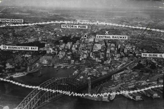 """An atom-bomb exploded 2000 feet above the area shown would wipe out the city within the inner circle, severely damage the area beyond, kill 50,000, injure 100,000, and render Sydney uninhabitable for five years."" August 08, 1949."