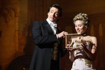 Hugh Jackman and Scarlett Johansson in Nolan's moody magic drama The Prestige.