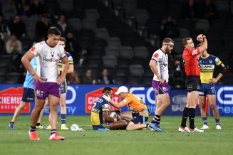 Eels winger Maiko Sivo, who was victim to two crushers during the match, was forced to defend himself after comments made by Storm coach Craig Bellamy.